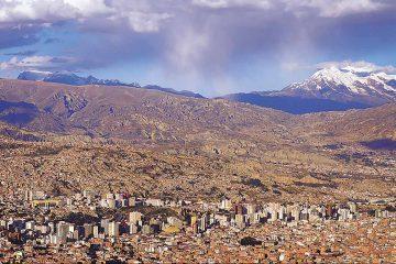 South-America-Bolivia-La-Paz-Volcan-Illimani