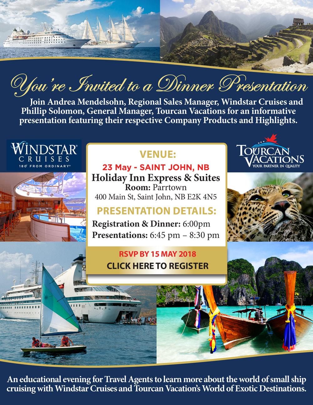 tourcan-2018-presentations-dinner-invite-tourcan-vacations-and-windstar-cruises-saint-john